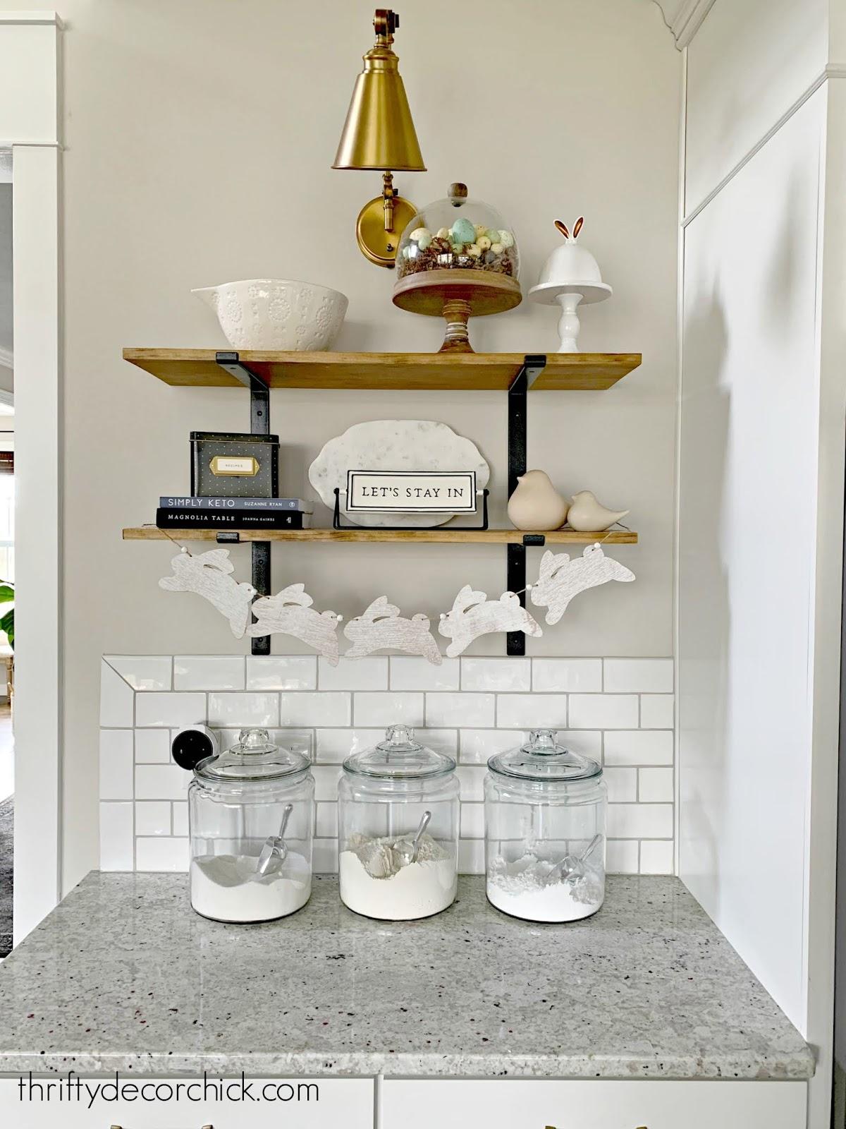 Easter decor kitchen shelves