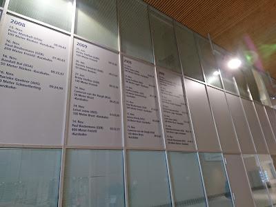 Wall of Fame mit Meistern, die in der SSE trainierten oder Rekorden, die in der Halle geschwommen wurden. Bis 2009. Danach endet die Aufstellung.