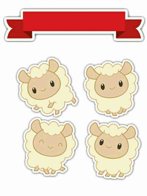 Baby Sheep Free Printable Cake Toppers.