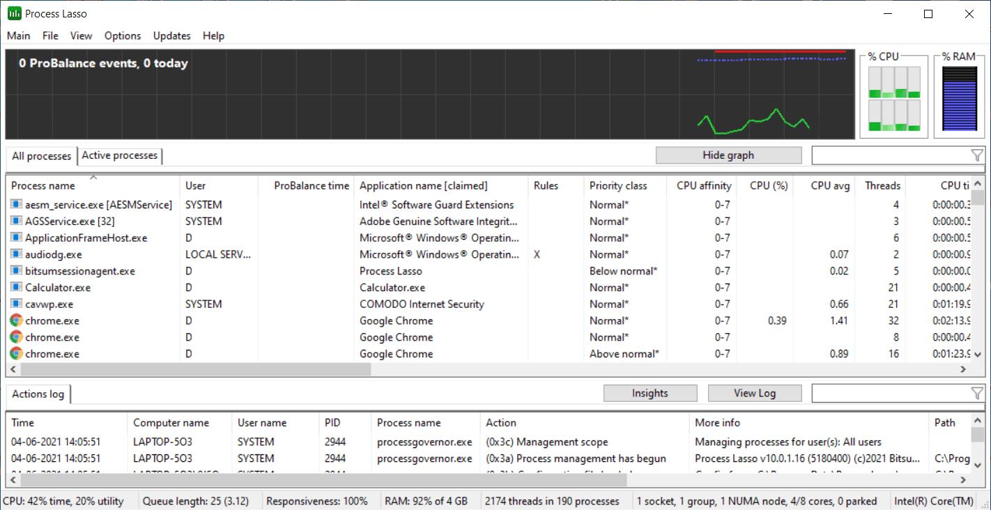 Process Lasso Main Interface Screenshot