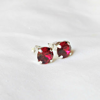 image earrings ear stud earstud swarovski crystal ruby handmade silver two cheeky monkeys pink red