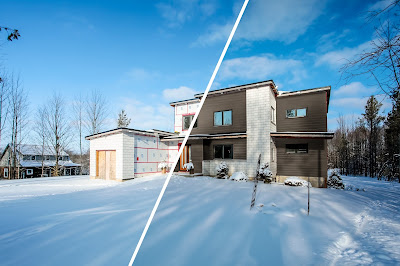 before and after composite view of a 3d rendered cladding applied to a real estate photo.