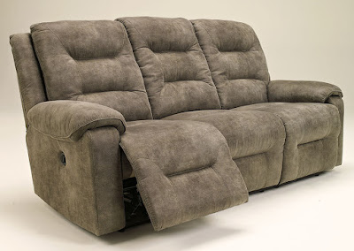 Beige suede reclining sofa