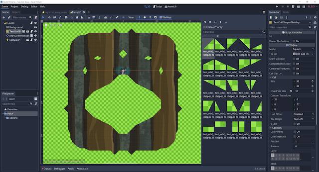 A screenshot of the Godot scene editor open to a level with some non-axially-aligned tile shapes.
