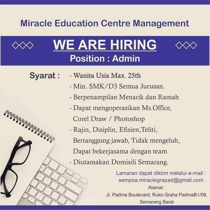 Admin Miracle Education Centre Management Semarang