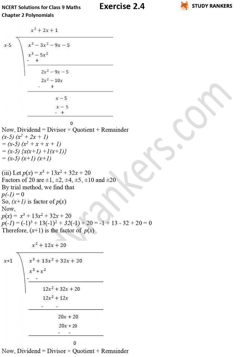 NCERT Solutions for Class 9 Maths Chapter 2 Polynomials Exercise 2.4 Part 5