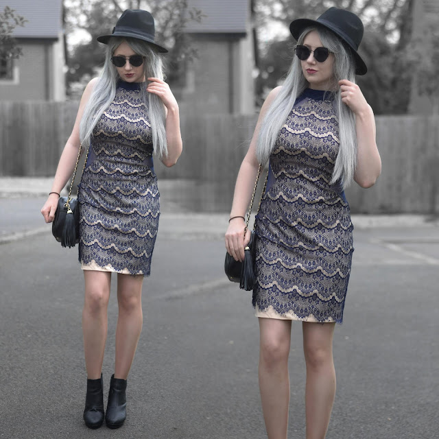 Sammi Jackson - Black Primark Fedora / Zaful Sunglasses / Ever Pretty Dress / Everything5pounds Tassel Bag / Office Chunky Ankle Boots
