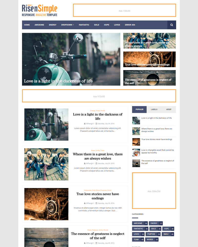 RisenSimple - Fastest Loading and Mobile Friendly for Magazine Blogger Template
