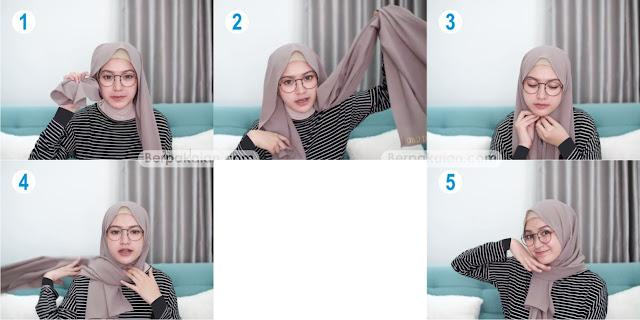 Style Ketiga Tutorial Hijab Pashmina untuk Wanita Berkacamata Simple TERBARU 2019