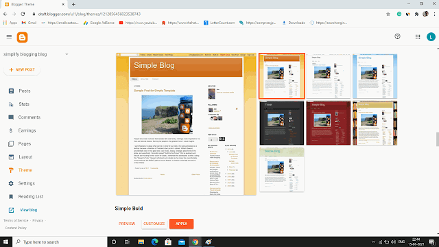 Choose blogger theme