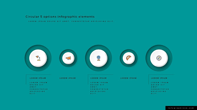 3D Circular 5 Options Infographics Elements Type C