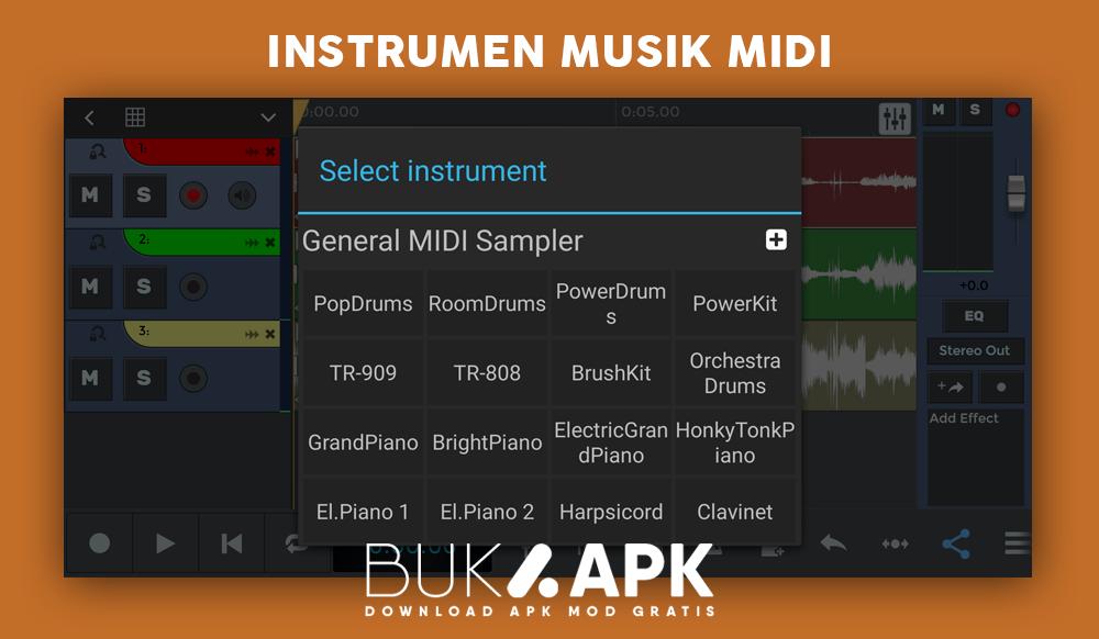 Fitur instrumen untuk membuat musik sendiri di smartphone