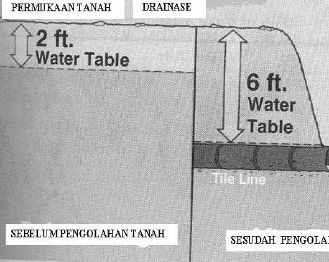 Gambar Penggunaan drainase untuk mengelola ketersediaan air tanah tanah