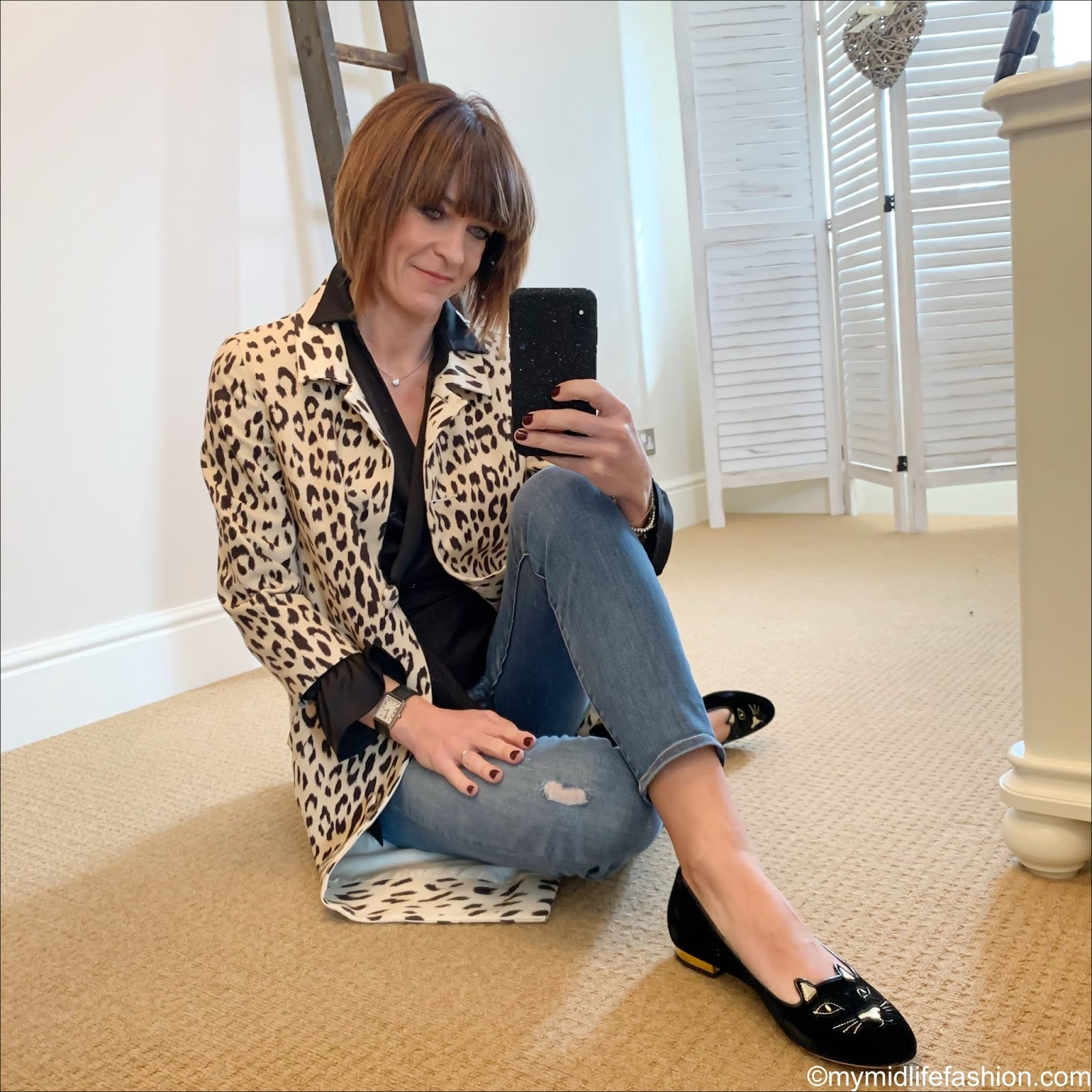 my midlife fashion, blue girl blumarine leopard print coat, iris and ink wrap over blouse, j crew 8 inch stretch toothpick jeans, Charlotte Olympia kitty flat velvet shoes