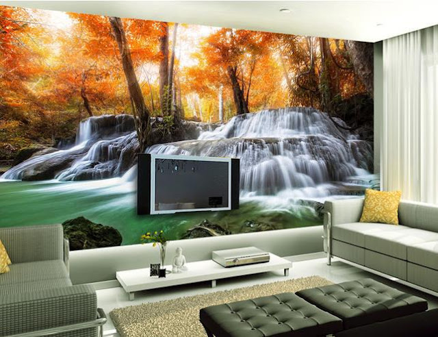 Nature elegant wallpapers small living room design ideas 2016