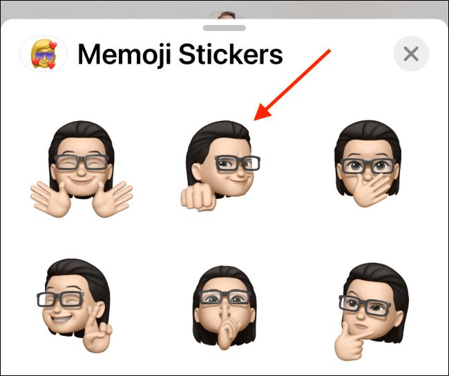 اضغط على Memoji الخاص بك لإرساله