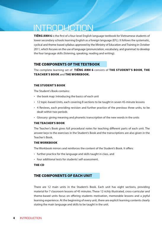 Trang 3 sach Sách Giáo Viên Tiếng Anh 6 Tập 1