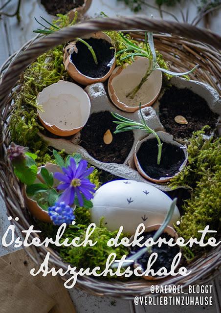 Oesterlich dekorierte Anzuchtschale -Verliebt in Zuhause