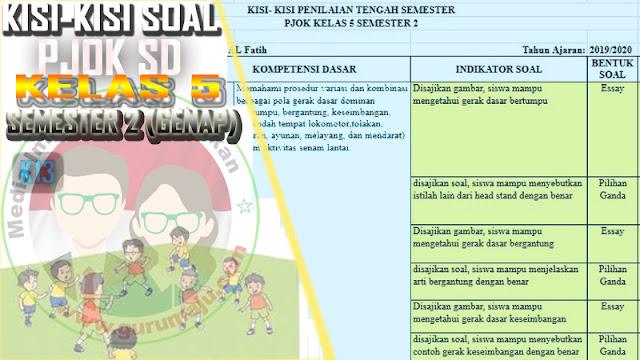 Kisi-Kisi Soal UTS / PTS PJOK Kelas 5 Semester 2 K13 Revisi