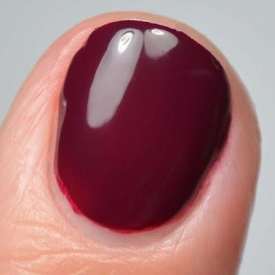 oxblood nail polish close up swatch