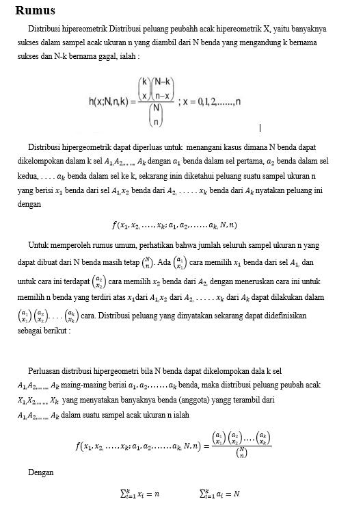 pengertian, asumsi, jenis data, rumus, soal distribusi Hipergeometrik
