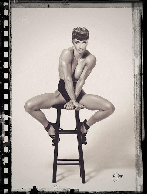 Audrey Hepburn bodybuilder muscle