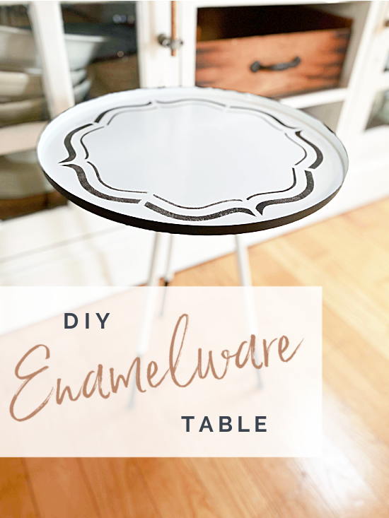 enamelware table with overlay