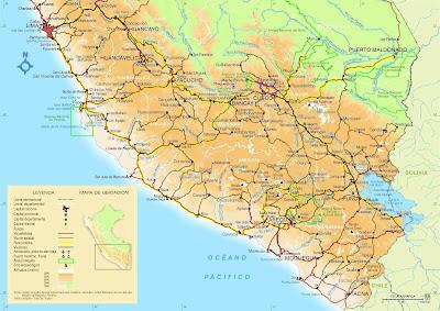 Mapa do sul do Peru