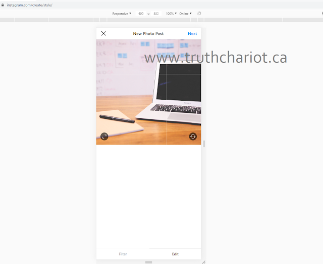 Trick to post on Instagram from PC