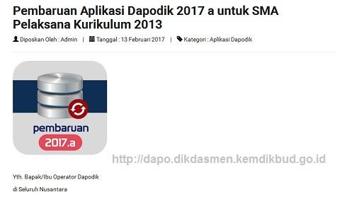 Pembaruan Aplikasi Dapodik Versi 2017.a Untuk SMA Pelaksana Kurikulum 2013