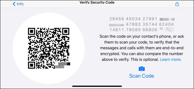 """قائمة """"التحقق من رمز الأمان"""" في WhatsApp."""