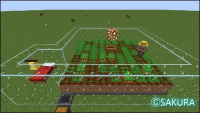 Minecraft 農民を使った自動畑 ホッパーで作物を回収する仕組み