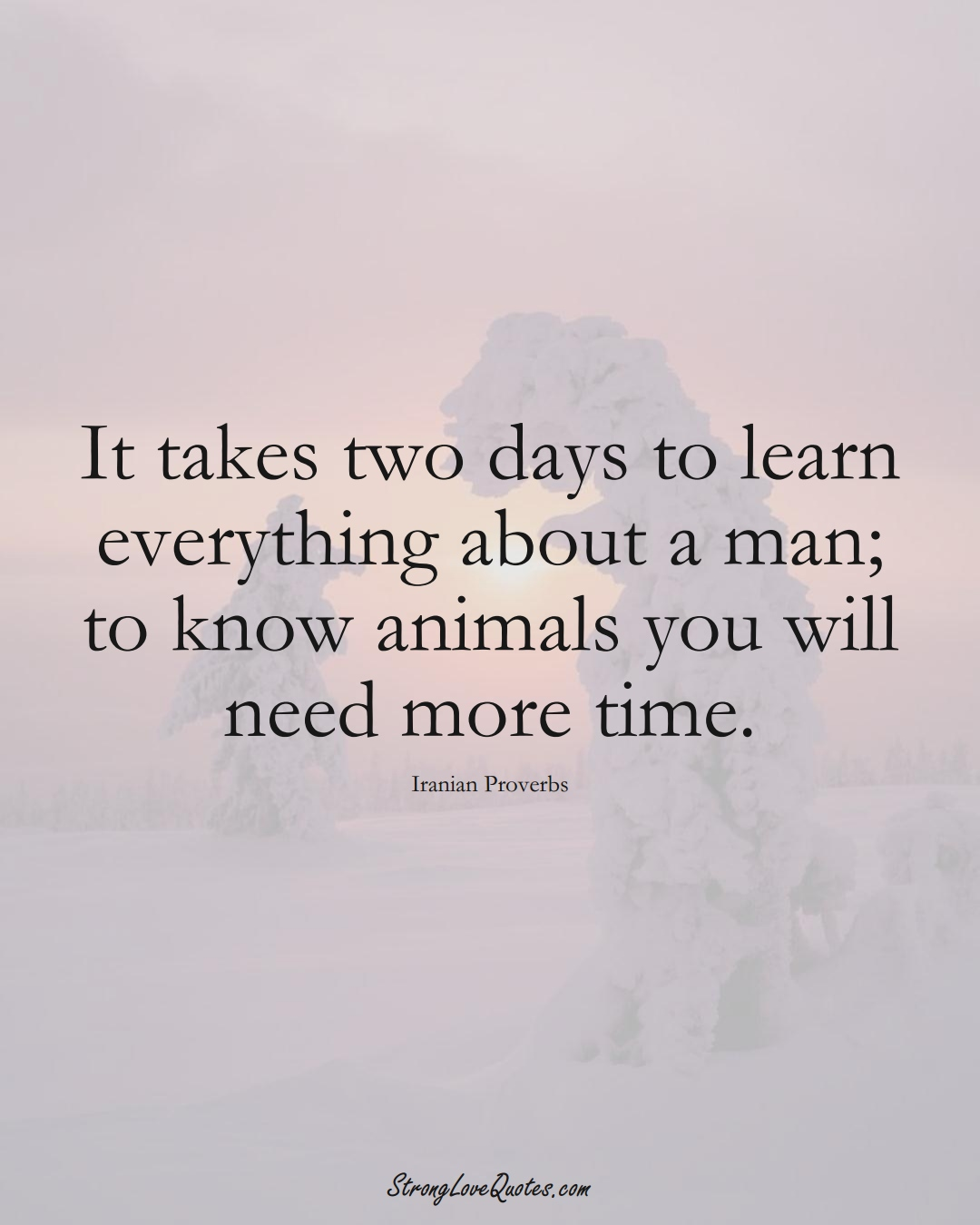 It takes two days to learn everything about a man; to know animals you will need more time. (Iranian Sayings);  #MiddleEasternSayings