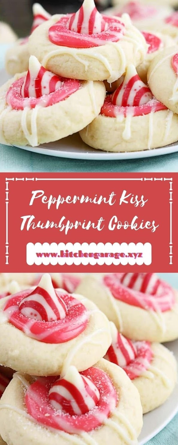 Peppermint Kiss Thumbprint Cookies