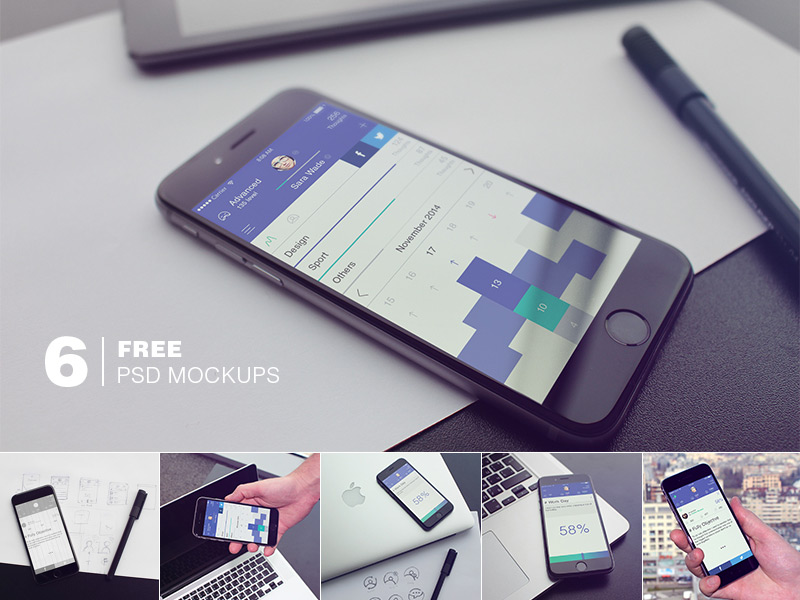 Free 6 iPhone 6 PSD Mockups