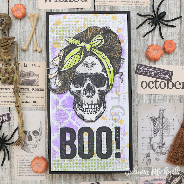 Boo Halloween Card by Juliana Michaels featuring Tim Holtz Stampers Anonymous Wicked Hipsters and Bold Frights Stamp Sets