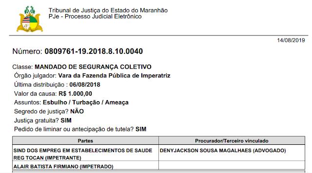 E TOME PROCESSO! SINDSAÚDE entra com MANDADO DE SEGURANÇA contra Alair Firmiano!!!
