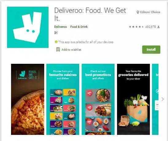 deliveroo food delivery app