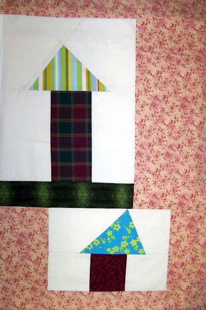 improv pieced houses - quilt blocks by marty mason