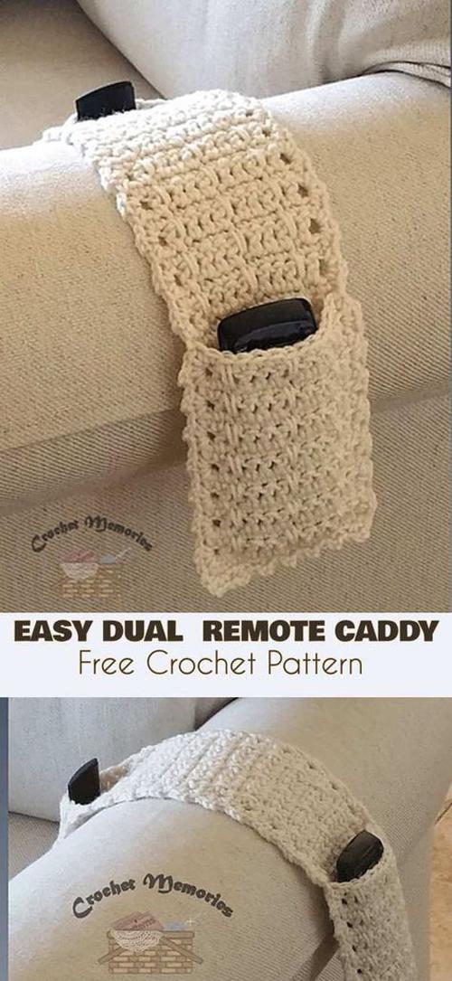 Easy Dual Remote Caddy - Free Crochet Pattern