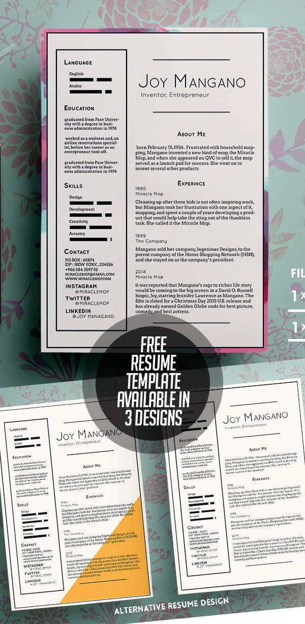 Template Resume / CV Terbaru 2017 - Free Resume Templates Available in 3 Designs