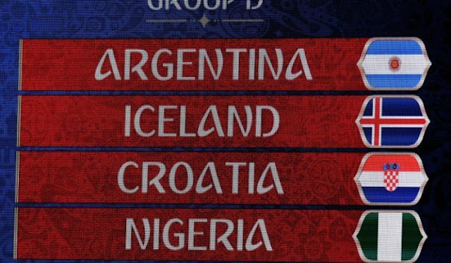 #WorldCupDraw : Nigeria To Face Argentina, Croatia And Iceland In Group D