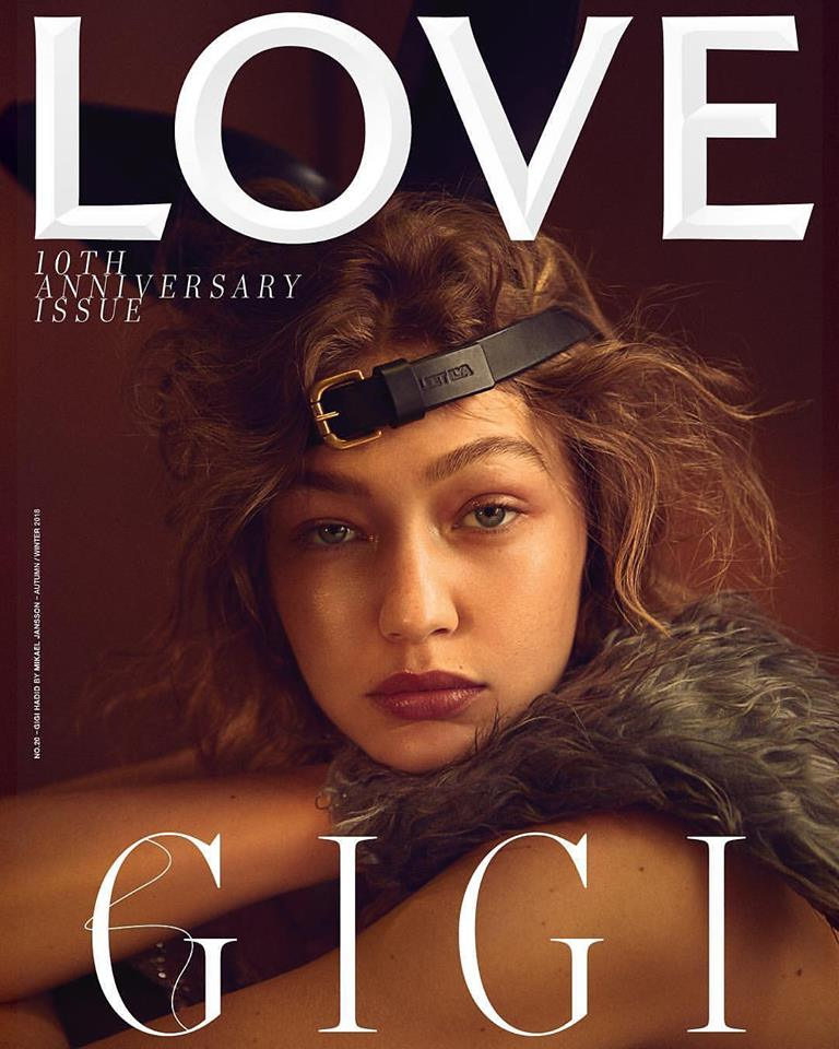 Gigi Hadid covers Love Magazine 10th Anniversary Issue
