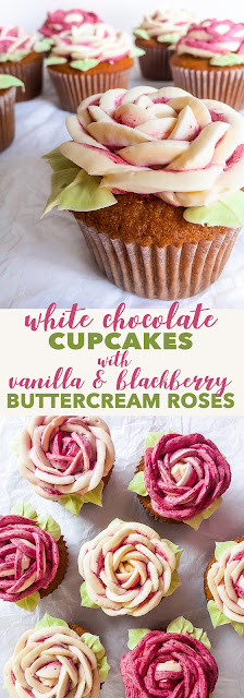WHITE CHOCOLATE CUPCAKES WITH VANILLA  BLACKBERRY BUTTERCREAM ROSES {soy  nut free, gluten free option}