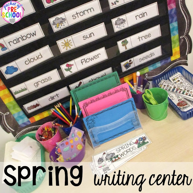 Spring themed writing center plus Plant Needs and Life Cycle Posters FREEBIE. Prefect for preschool, pre-k, and kindergarten.