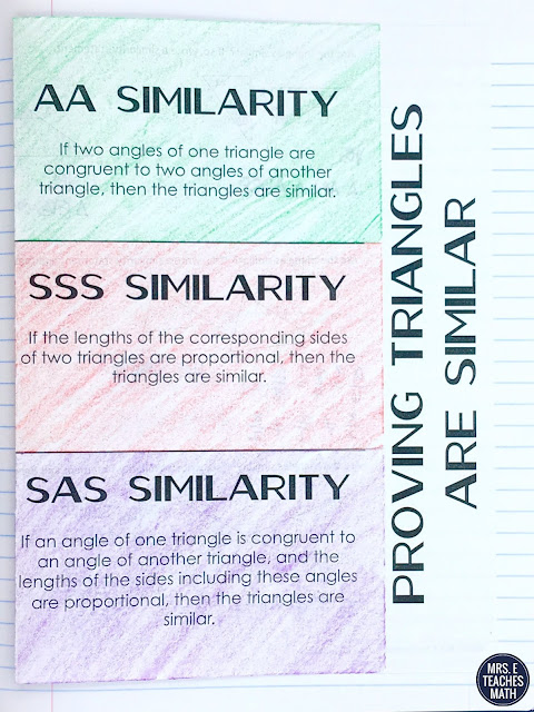 AA, SSS, and SAS Similarity Foldable for Geometry - Triangle Similarity