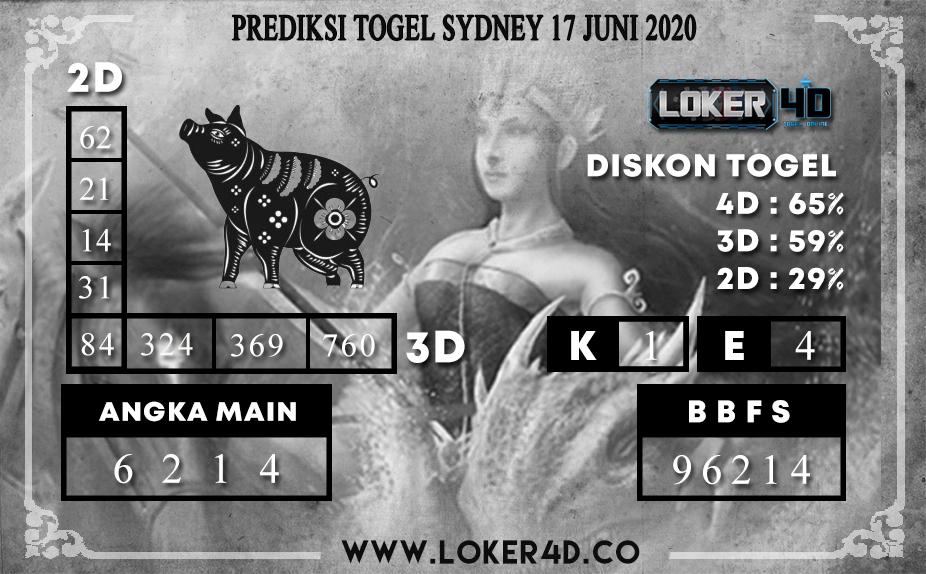 PREDIKSI TOGEL SYDNEY 17 JUNI 2020