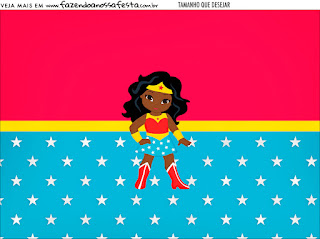 Wonder Woman Afro Free Printable Invitations and Candy Bar Labels.