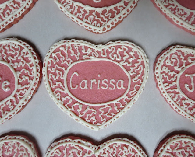 Personalized Valentine's Day Heart Sugar Cookies - Close Up of Single Cookie