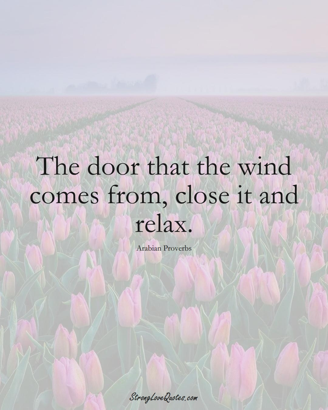 The door that the wind comes from, close it and relax. (Arabian Sayings);  #aVarietyofCulturesSayings
